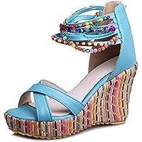 getmorebeauty Women's Open Toe Platform Wedge Sandals Back Zipper High Heels