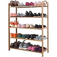 バンブーソリッドウッドシューズラックホームシンプルシューズラックマルチレイヤーフラワーラックラックウッドカラーバンブーバンブーラック4レイヤー(靴ラックのみ含む) (サイズ さいず : 5-layer)