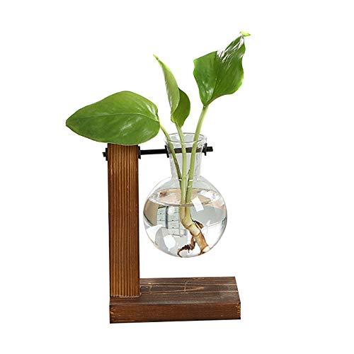 ZOZOE Hydroponic Vase Vintage Desktop Planter Bulb Vase Glass Planter Bulb Vase Desktop Hanging Glass Hydroponics Plants Desk Garden Home Office School Wedding Decor with Retro Wooden Stand