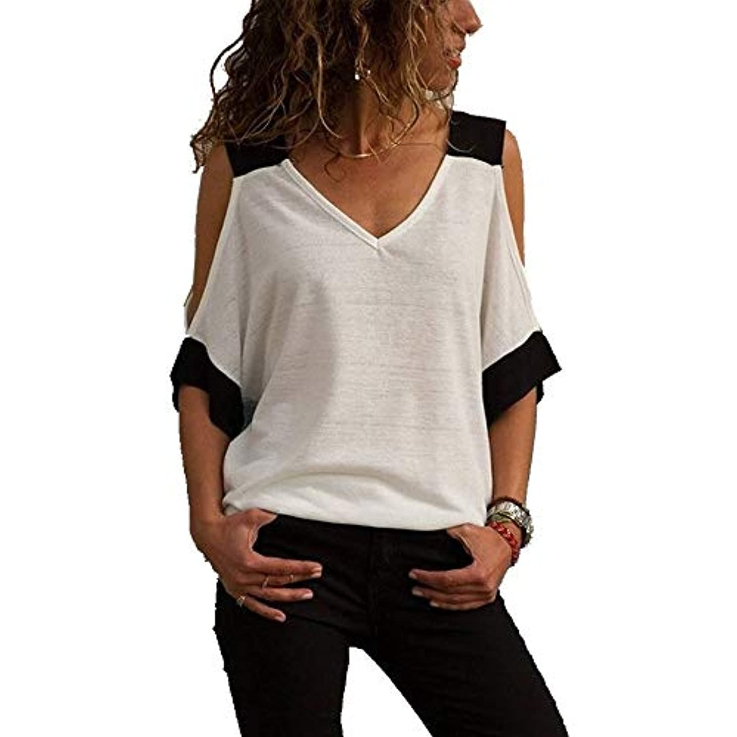 キャプテン石油一杯MIFAN女性ファッションカジュアルトップス女性ショルダーブラウスコットンTシャツディープVネック半袖