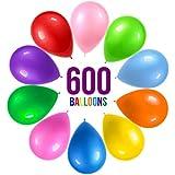 Prextex パーティーバルーン 600個 12インチ 10色詰め合わせ レインボーカラー パーティーデコレーション 誕生日パーティー用品 アーチデコレーション ヘリウム品質