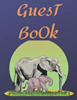 Guest Book elephant: color elephant Cover, Rustic Guest book For Wedding, for baby shower,for graduation,for birthday party,for house warming,for retirement,with funny and cute elephant print on cover,elephant lover ,cute elephant,celebration party