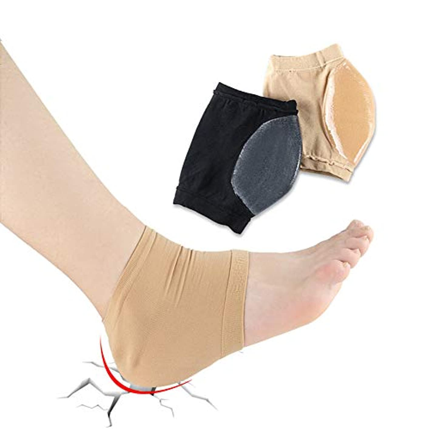 ドル作動する動かない伸縮性のある足スリーブ、ジェルパッド衝撃吸収性ヒール付きソックス、かかとを保護するためのかかとを保護するかかとユニセックス(2ペア),Flesh,M