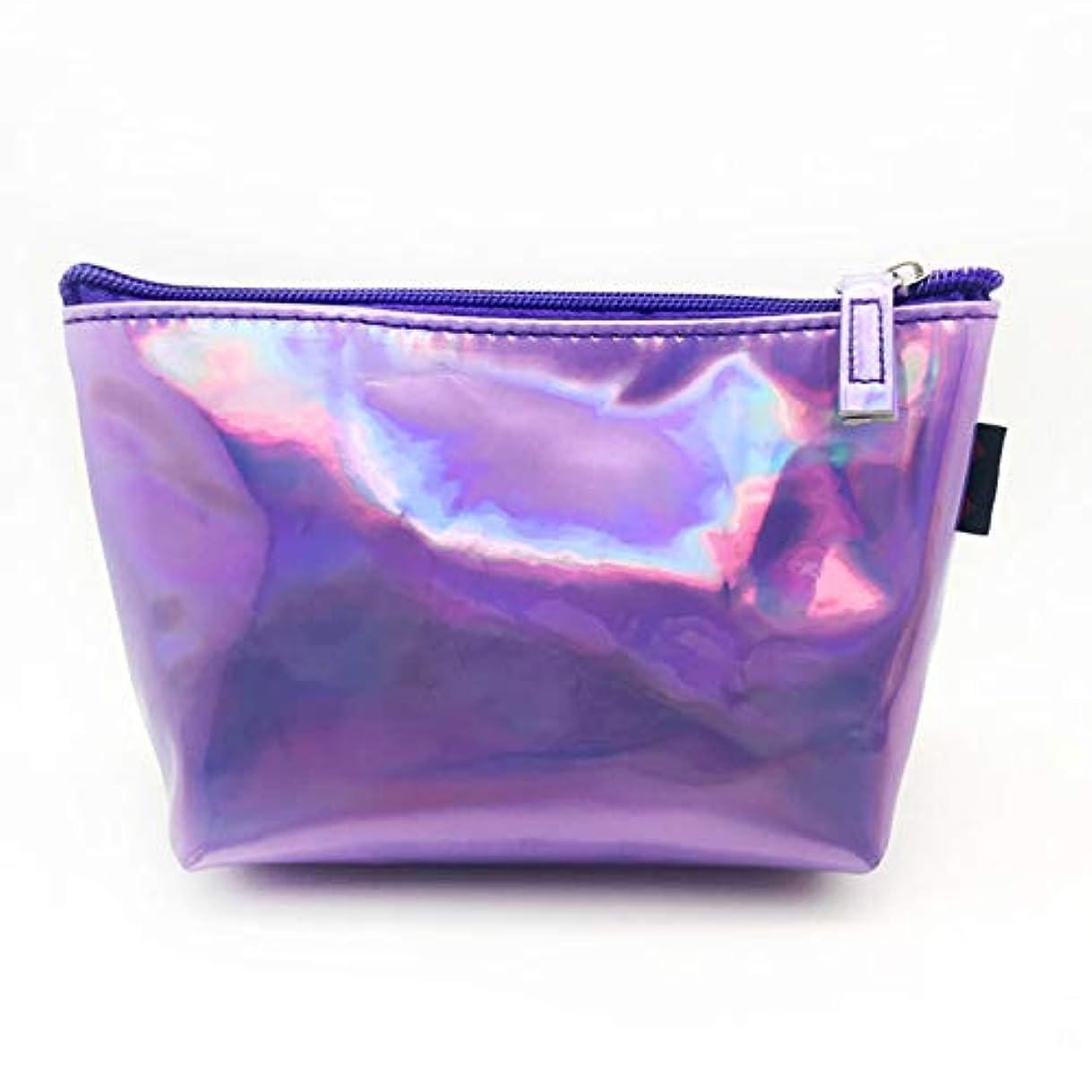 道路ズボン風変わりなtiwayer 驚くべき新リーフ小レーザーメイクアップポータブル旅行バッグ化粧品女性`時折革バッグメイクアップポーチホログラフィックバッグプリティ(None purple)