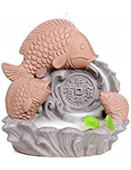 ZenアンティークセラミックCenserパープルClay Carp Backflow Incense Burner for Home Decor Tea Ceremony