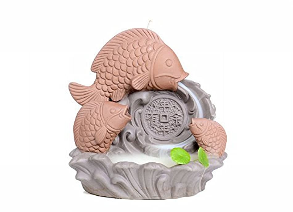 振りかける病者沼地ZenアンティークセラミックCenserパープルClay Carp Backflow Incense Burner for Home Decor Tea Ceremony