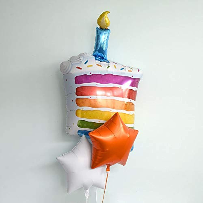 風船 浮かせてお届け ヘリウムガス入り レインボー ケーキ 星の色 ゴールドとアイボリー 誕生日 飾り付け バルーン電報 結婚式