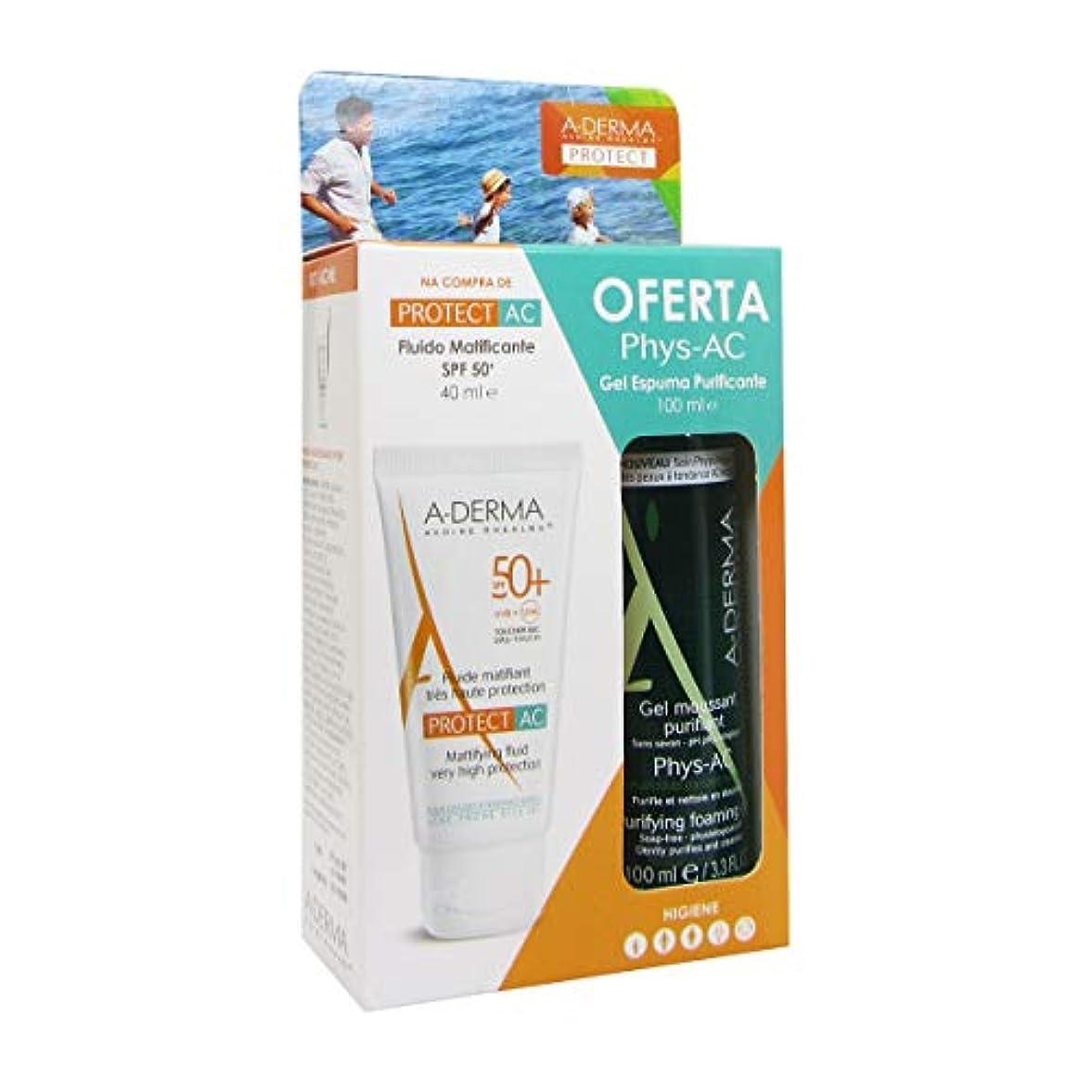 代数古くなった分析的A-derma Pack Protect-ac Fluid Spf50 + 40ml + Phys-ac Foam Gel 100ml [並行輸入品]