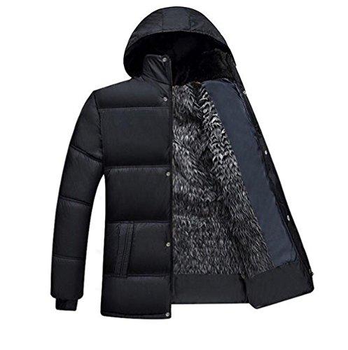 JinNiu メンズ ダウンコート 裏起毛 厚手 防寒コート アウトドア ダウンパーカ ダウンジャケット 冬の暖かい 大きいサイズ 上品 高品質 ファー付き 冬 柔らかい アウター 登山 軽量 ウトドア ダウン風 コートブラック 3XL