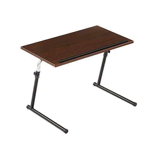 【角度調節可】【幅69×奥行45.5×高さ43~67cm】サイドテーブル 折りたたみ 昇降式 木製 ブラウン