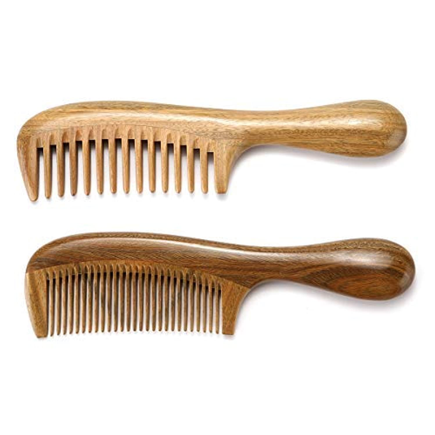 裁定実験室テーマHandmade Wooden Hair Comb Set Gift Box Natural Green Sandalwood Anti-Static Fine & Wide Tooth Hair Combs for Men...