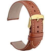 WOCCI Untextured Leather Watch Strap with Gold Buckle, 20mm Watch Band for Men Women (Red Brown with Contrasting Seam)