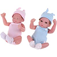 FLAMEER 服付き 26cmリボーンベビー人形 新生児ベビードール ロンパース 帽子 全2個