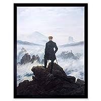 Friedrich Wanderer Above Sea Fog Painting Art Print Framed Poster Wall Decor 12x16 inch ペインティングポスター壁デコ