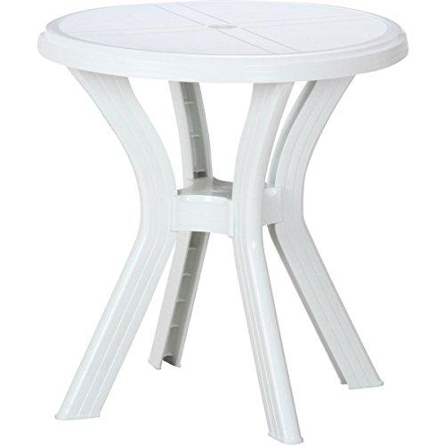 イタリア製ガーデンテーブル PCラウンドテーブル「アンジェロ」【FBC】ホワイト(#9879634-12278)サイズ:幅67×奥行67×73cm
