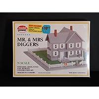 Nスケール鉄道プラスチックモデル構築キット# 1558 – Mr。& Mrs Diggers withベース、Grass &フェンス