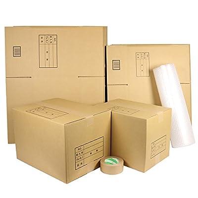 ダンボールキング ダンボール 段ボール 引っ越しセットS 段ボール箱 大5枚 中10枚 計15枚、プチプチ、クラフトテープ 自社工場直送 オリジナル 強化 ダンボール箱 (S)