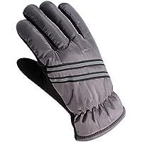 冬スキーグローブメンズ防水ウォーム手袋ストライプスタイルの練習グローブグレー
