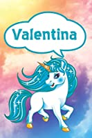 """Valentina: Personalized Unicorn Draw and Write Diary journal notebook featuring 120 pages 6""""x9"""""""