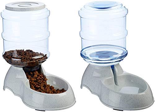 猫 みずのみ 自動 自動給餌器、給水器 二つセット 猫犬用 重力式ペット用エサやり 3.75 L ペット用の給水機、餌やり器 最大15日連続自動給餌 犬猫お留守番対策 ペット用品(組み合わせ)
