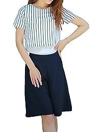 春夏 ワイドパンツ シフォンシャツ ストライプ 半袖 ラウンドネック 重ね着風トップス セットアップスーツ セレブスーツ クマのぬいぐるみ付き C018