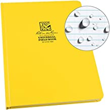 """Rite in the Rain Weatherproof Hard Cover Notebook, 8.75"""" x 11.25"""", Yellow Cover, Universal Pattern (No. 370F-MX)"""
