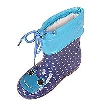 uirend靴レインブーツキッズ - 女の子男の子子供用Wellies防水ロースノーブーツレインシューズラバー機能ウェリントン暖かいファー裏地なしスリップ