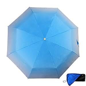 AIYIKU レディース 自動開閉 折りたたみ傘 折り畳み傘 UV 日傘兼用 カラー豊富 グラデーション 傘 吸水カバー 付き (ブルー)
