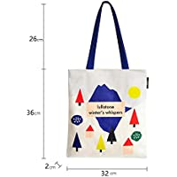 Student Tote Bag, Canvas Geometric Colorful Forest Large Shoulder Bag Shopping School Books Handbag Polykor