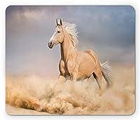 馬のマウスパッド、パロミノの砂漠の砂漠の長い雄の男性の髪の力野生の動物、標準サイズの長方形ノンスリップラバーマウスパッド、パープルグレーピーチ