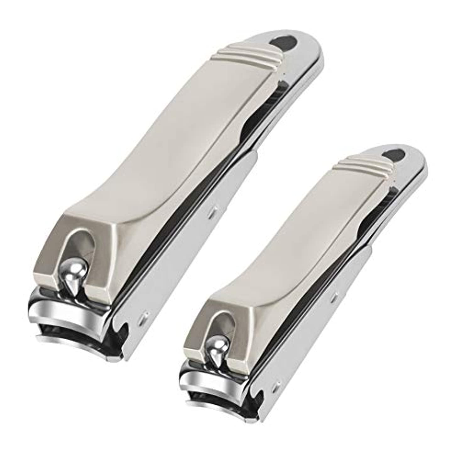 解明する恐ろしいリビングルームQpai爪切り カバー付き ステンレス鋼製 爪やすり付き 飛び散り防止