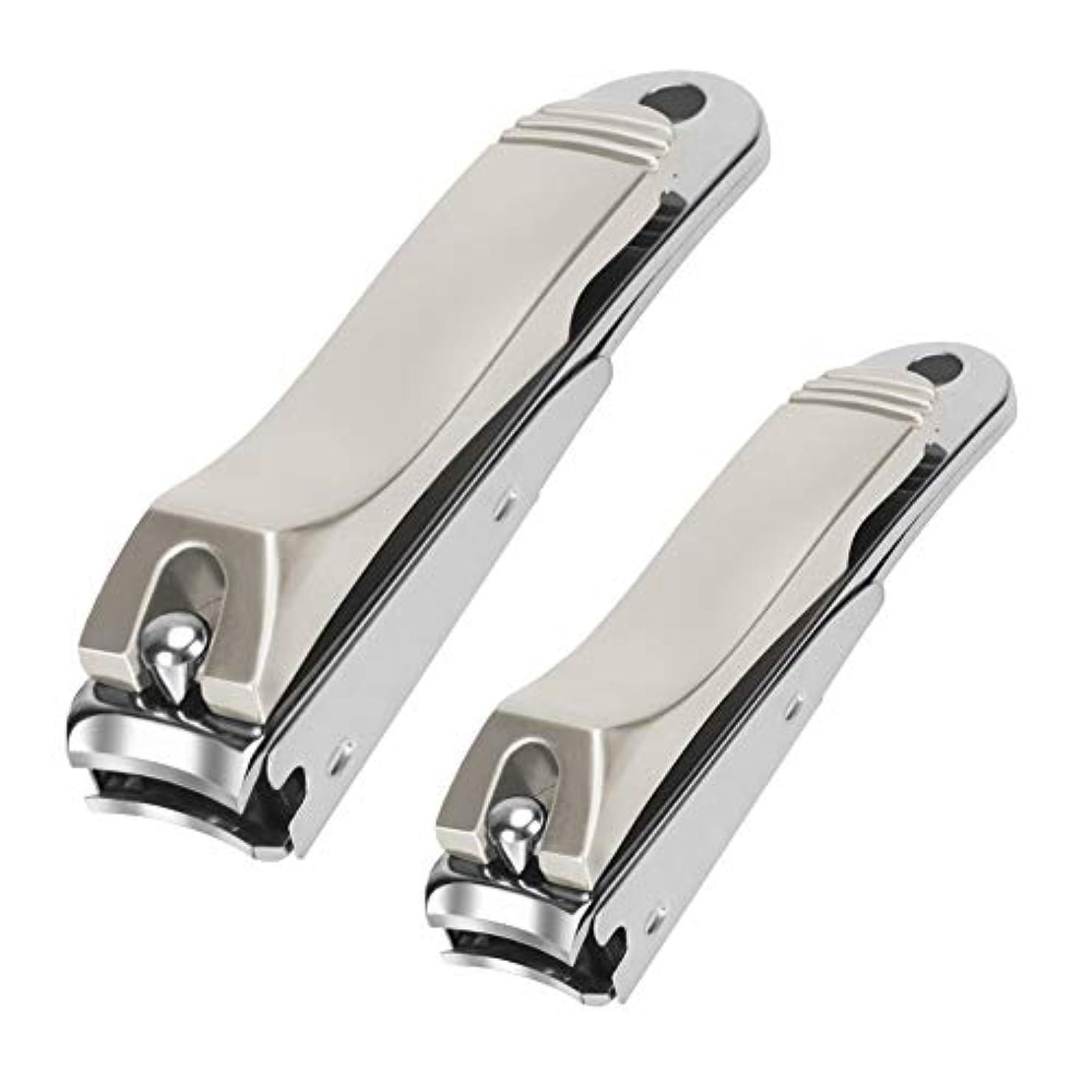 Qpai爪切り カバー付き ステンレス鋼製 爪やすり付き 飛び散り防止