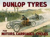 なまけ者雑貨屋 Dunlop Tires ブリキ看板 壁飾り レトロなデザインボード ポストカード サインプレート