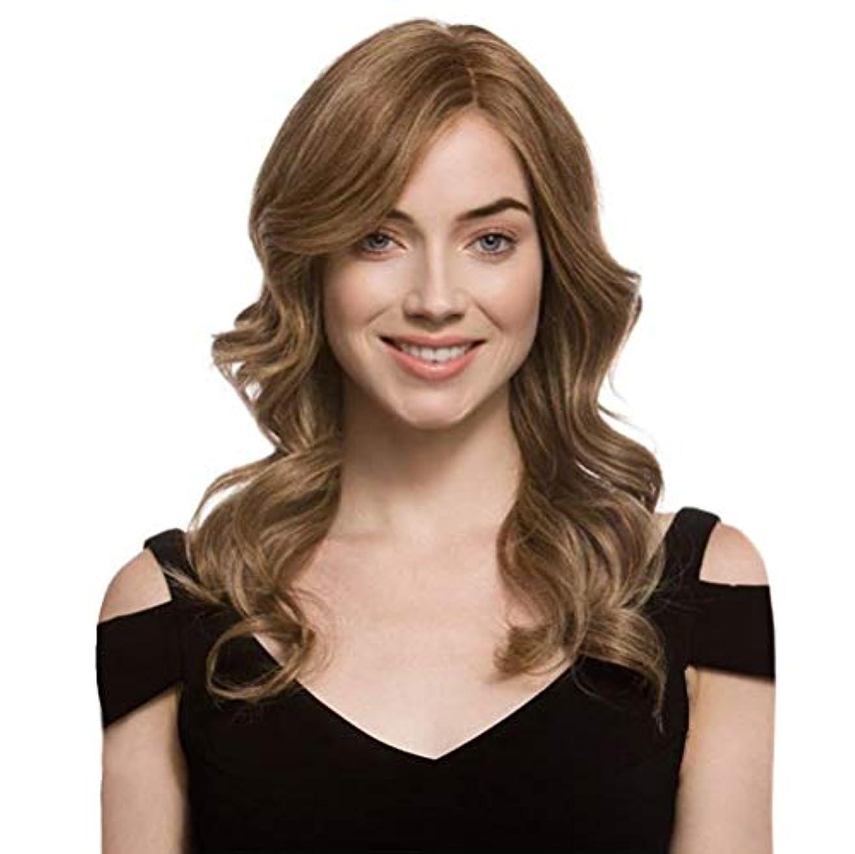 抵抗キャンバスの頭の上女性かつら長い波状カーリーローズネットフルウィッグ耐熱合成かつらブラウン65 cm