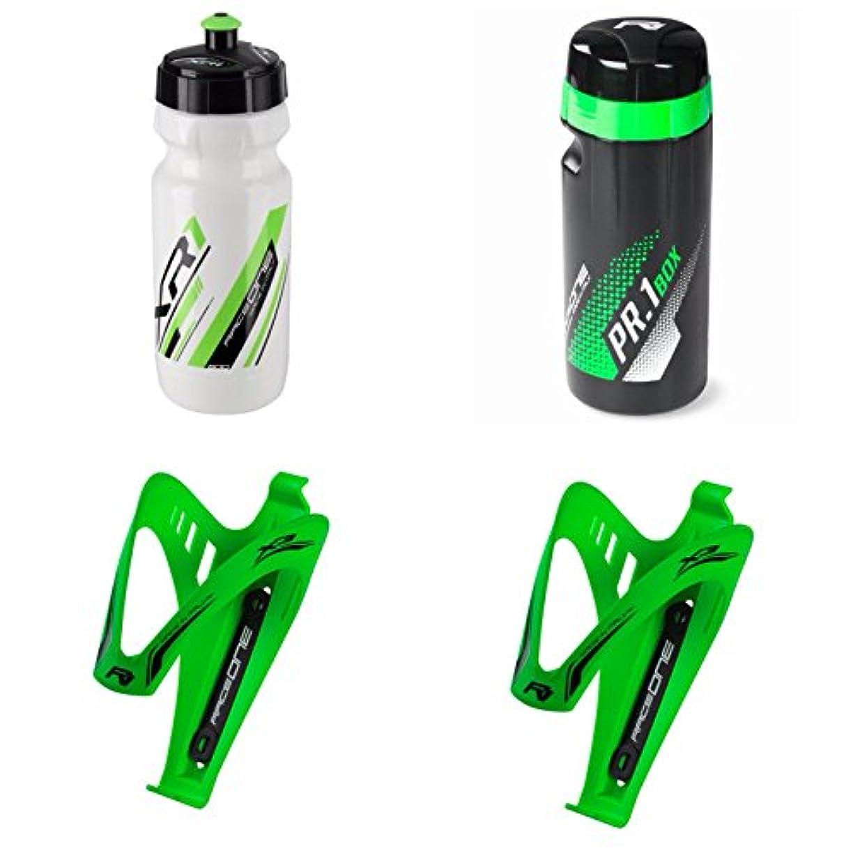 溝温度計剥ぎ取るRaceone.it - KIT Race Trio X3ゴム引き:ボトルケージX 3 +ボトルX R 1 + ToolBox PR 1は、バイクレース/MTB/グラベル/トレッキングバイクに最適です。カラー:ホワイト/グリーン100%イタリア製(RO_KIT_3_X3_RUB_GFL_WG