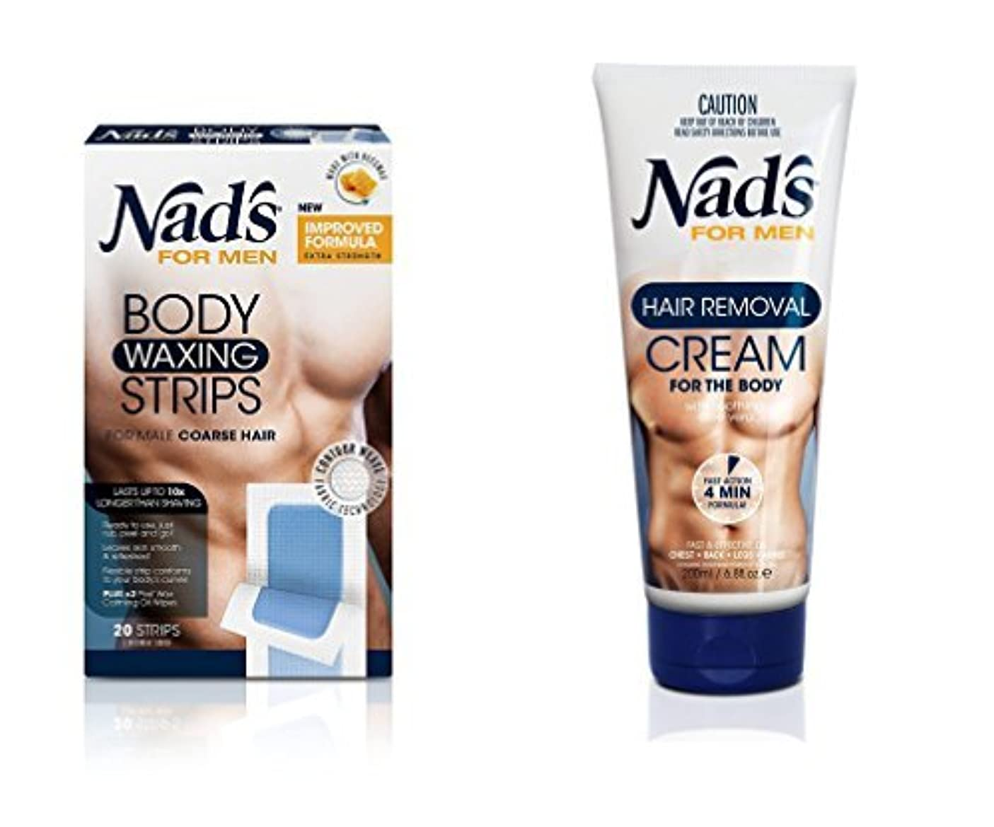 実質的懲戒させるNad's for Men Hair Removal (Cream + Strips (Combo)) [並行輸入品]