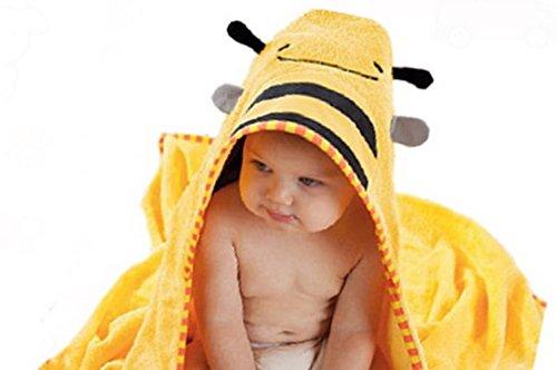 (スマイル ワキキ)Smile YKK 可愛い ベビー バスローブ アニマル バスタオル キッズ フード付き 温泉 お風呂 ビーチ 蜜蜂 イエロー