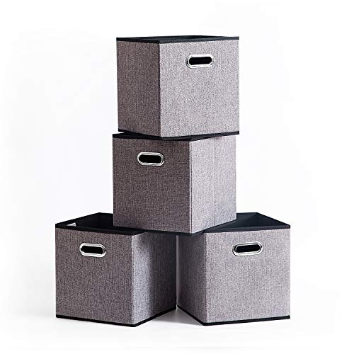 折り畳み収納フレーム整理箱[4つ入り] グレー、100%無臭、綿麻の収納バスケット、金属取っ手、寝室、引き出し、クローゼット、おもちゃ、事務室、ギフト、くすり、学生