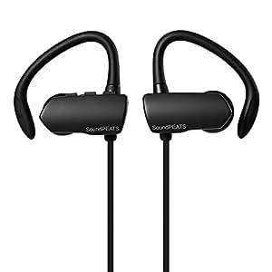 SoundPEATS【メーカー直販/1年保証付】Bluetooth イヤホン 高音質 apt-Xコーデック採用 ハンズフリー通話 防水 防滴 耳から外れにくい引っ掛けるタイプ スポーツ ワイヤレス イヤホン Q9A (ブラック)