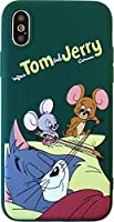 トムとジェリー iPhoneX iPhoneXs 5.8inch カラー ケース グリーン 液晶保護フィルム付き [並行輸入品]