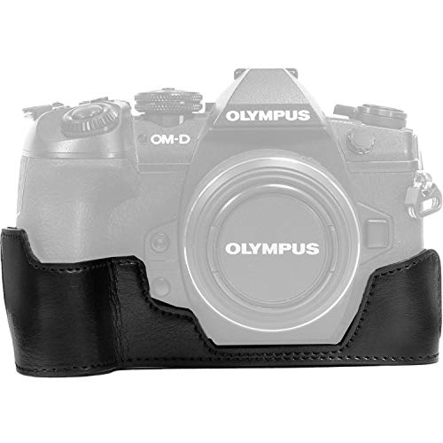 MegaGear Ever Ready PU Leather Half Case and Strap for Olympus OM-D E-M1 Mark II (Black) [並行輸入品]