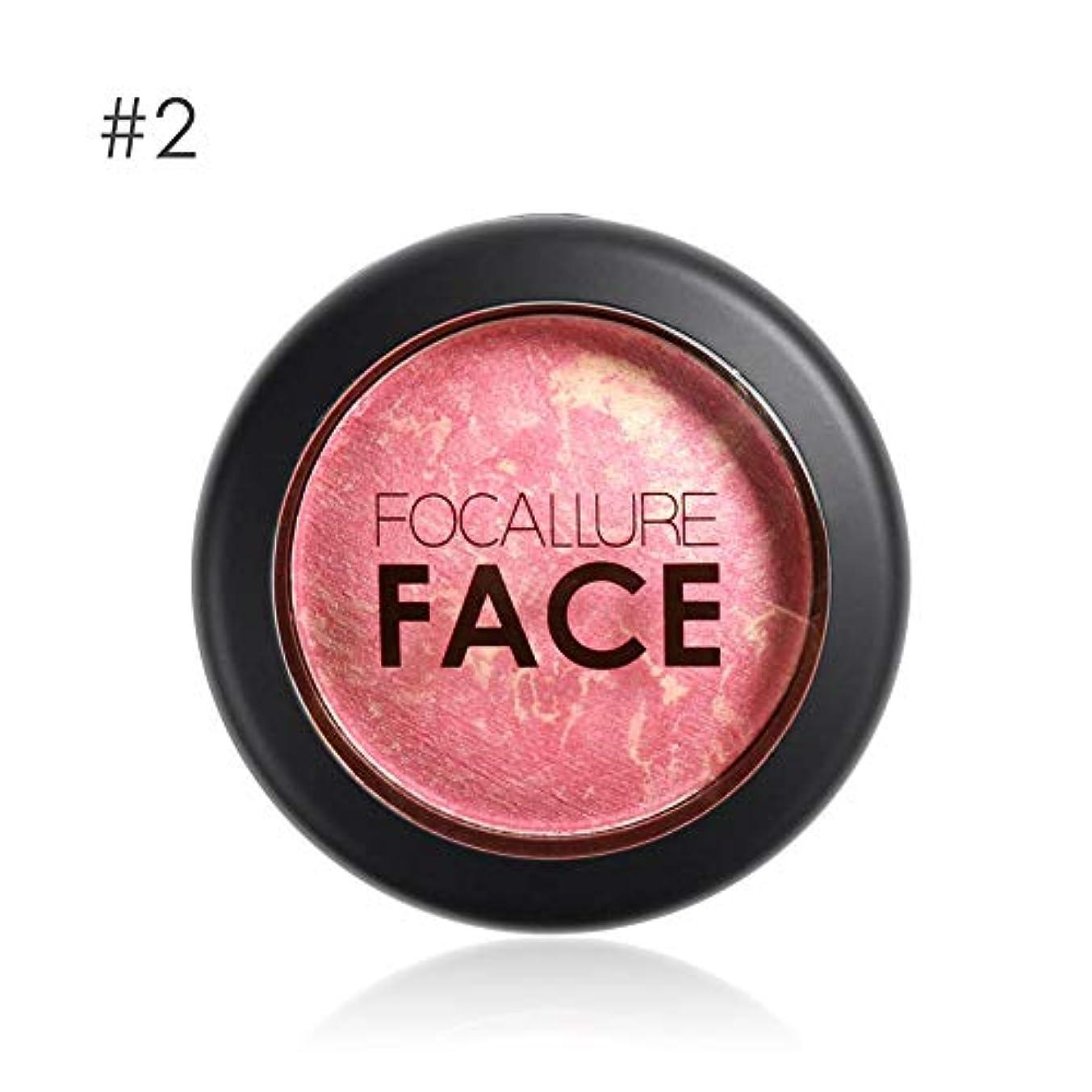 デッキつかまえる採用するFocallure 6色プロフェッショナル頬焼き赤面フェイス輪郭頬紅メイク - 2#