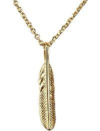 「silverKYASYA」ステンレス素材18金メッキ ゴールドフェザーネックレス フェザー トップ ペンダント レデース ネックレス 金 あずきチェーン付き (45)