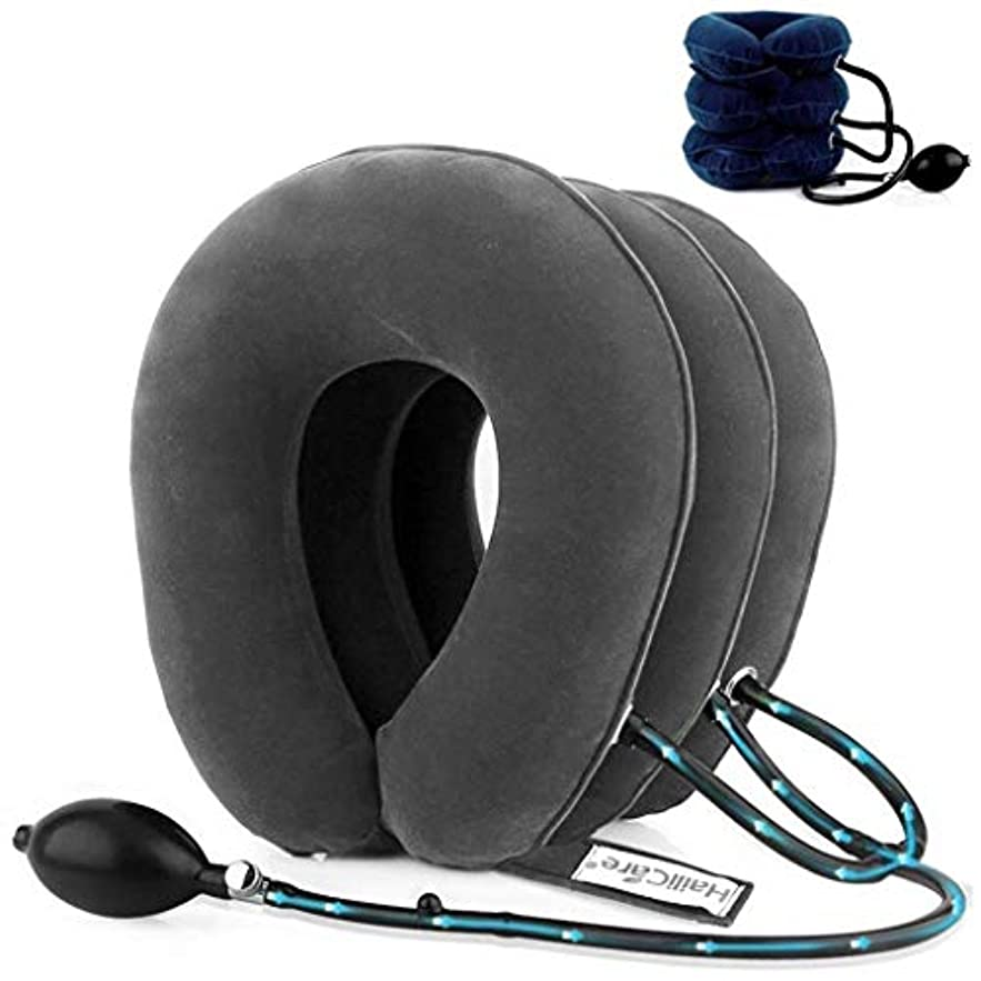 新年水族館実行する首のマッサージャー、膨脹可能なマッサージの首の枕、頚部牽引装置、背部/肩の首のマッサージャー、ヘルスケア、苦痛救助/圧力 (Color : Gray)
