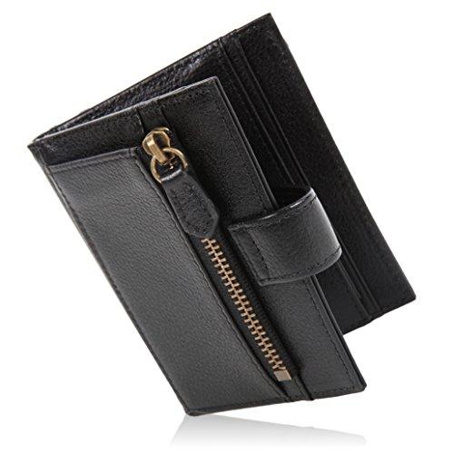 [LUCIAS] ミニ財布 二つ折り 本革 薄い 軽い コインケース カードケース スリム財布 メンズ (ブラック×ブラック)