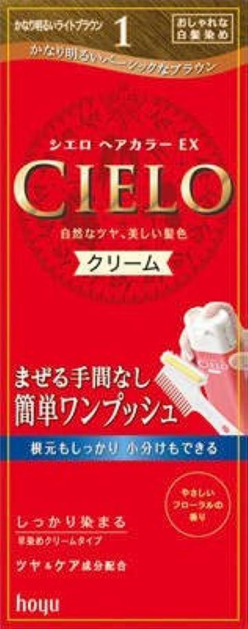 クマノミ無関心そっとホーユー シエロ ヘアカラーEX クリーム1 (かなり明るいライトブラウン) ワンプッシュ式のクリームタイプの白髪染め×27点セット (4987205284618)