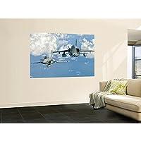 A Dassault Rafaleフランス空軍のFlys Alongside an embraer a-1bブラジル空軍の壁壁画by StockTrekイメージ48x 72in