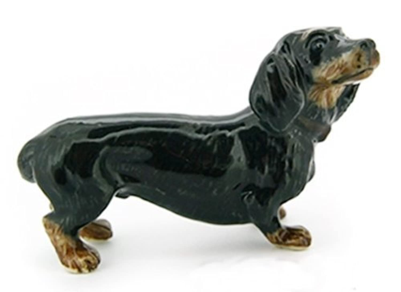 3 D Ceramic Toy Black Dachshund Dog size M Dollhouse Miniatures Free Ship by ChangThai Design [並行輸入品]