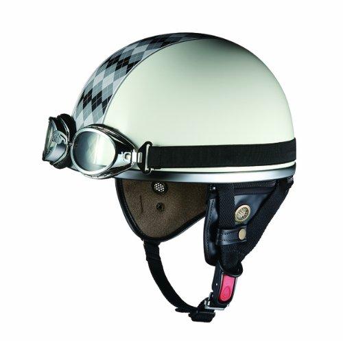 オージーケーカブト(OGK KABUTO)バイクヘルメット ハーフ PF-5 アーガイルホワイト/グレー (サイズ:FREE)