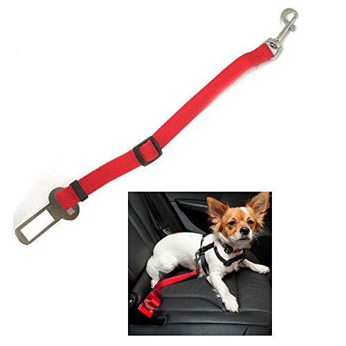 車載 ペット用シートベルト ペット乗車用ベルト 犬猫兼用 安全ベルト 安全対策 簡単取り付け 車内事故防止 調整可能 レッド